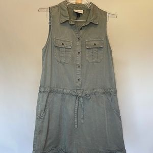 Army Green Button Front Romper Sz S